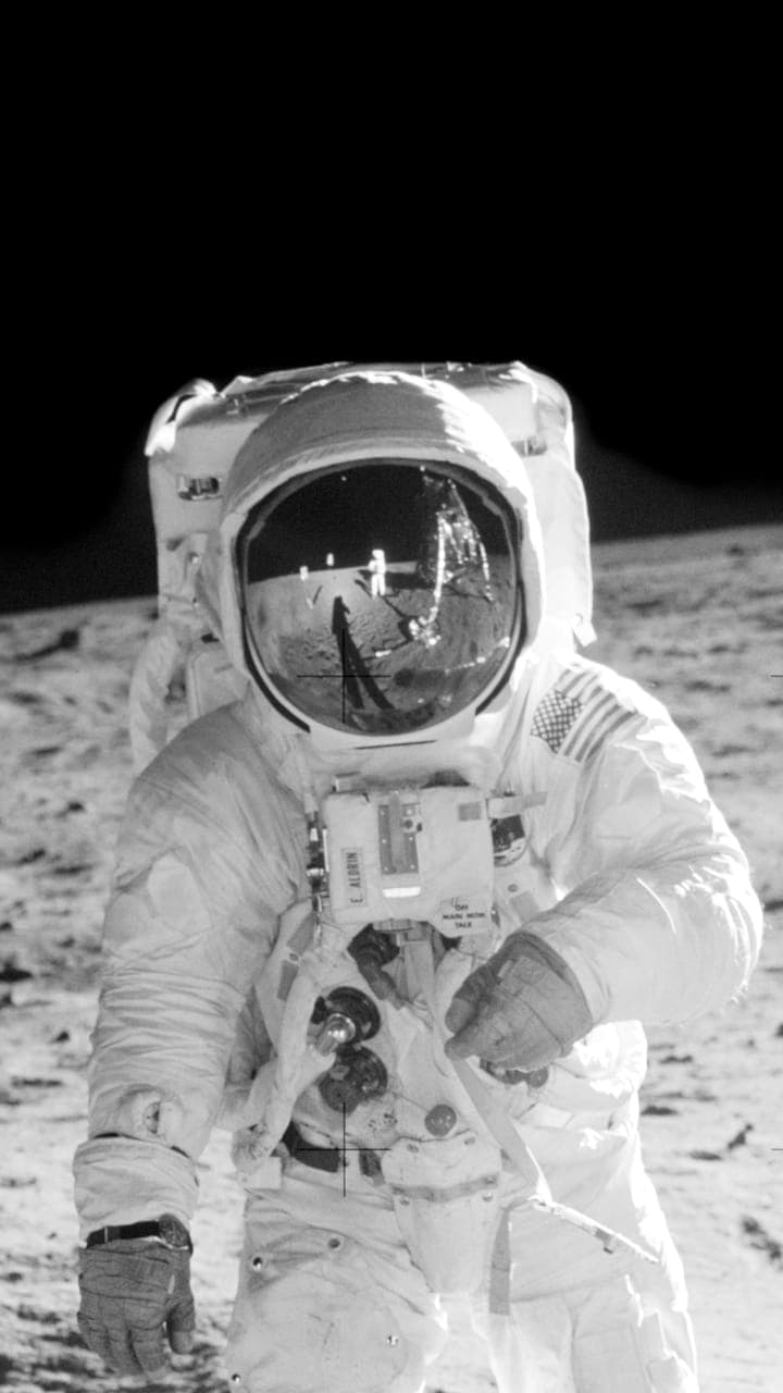 Photograph of a man on the moon