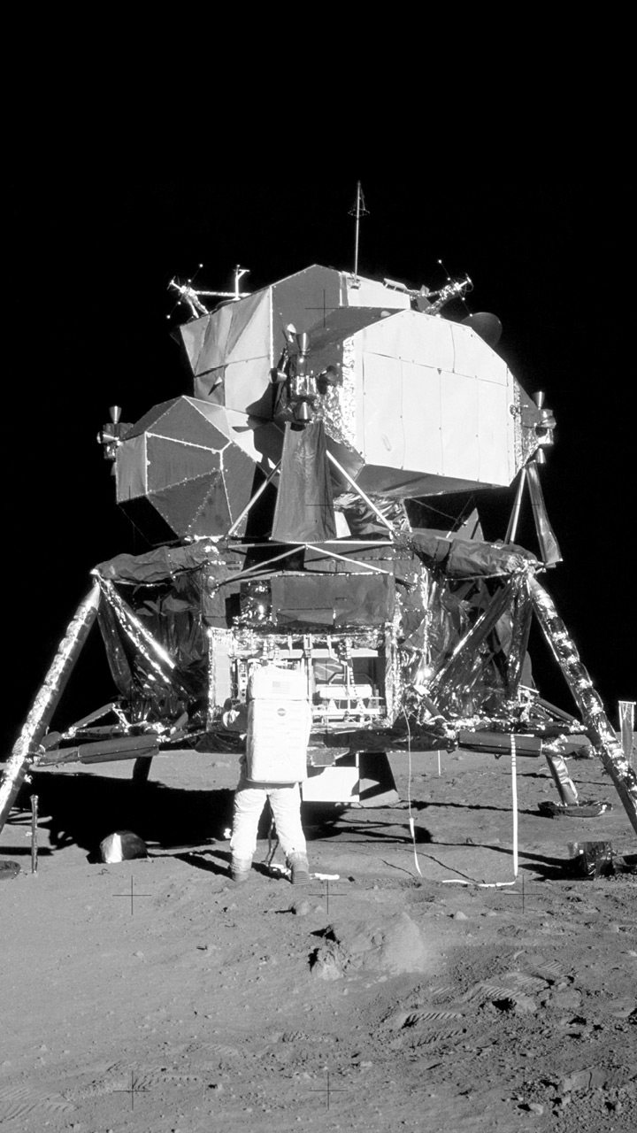 The lunar module, which stands on legs and is made up of polyagonal shapes.