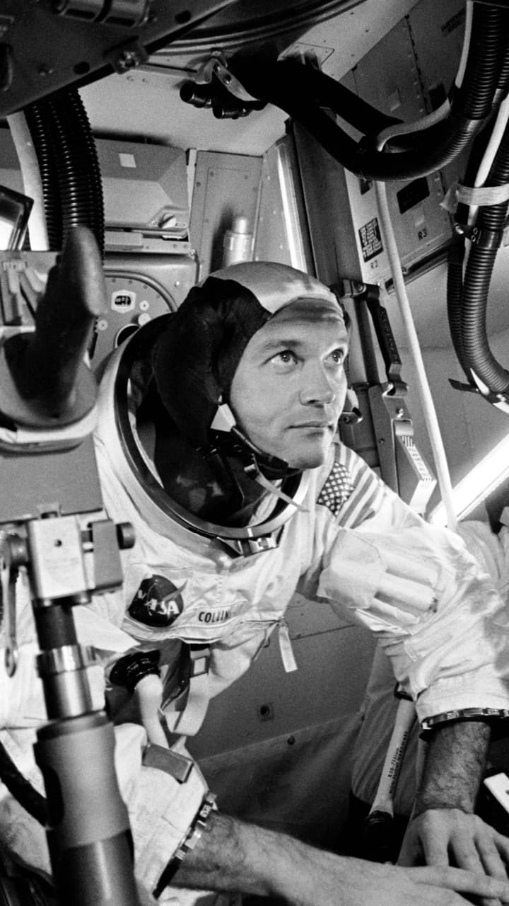 Photograph of Michael Collins in a space suit