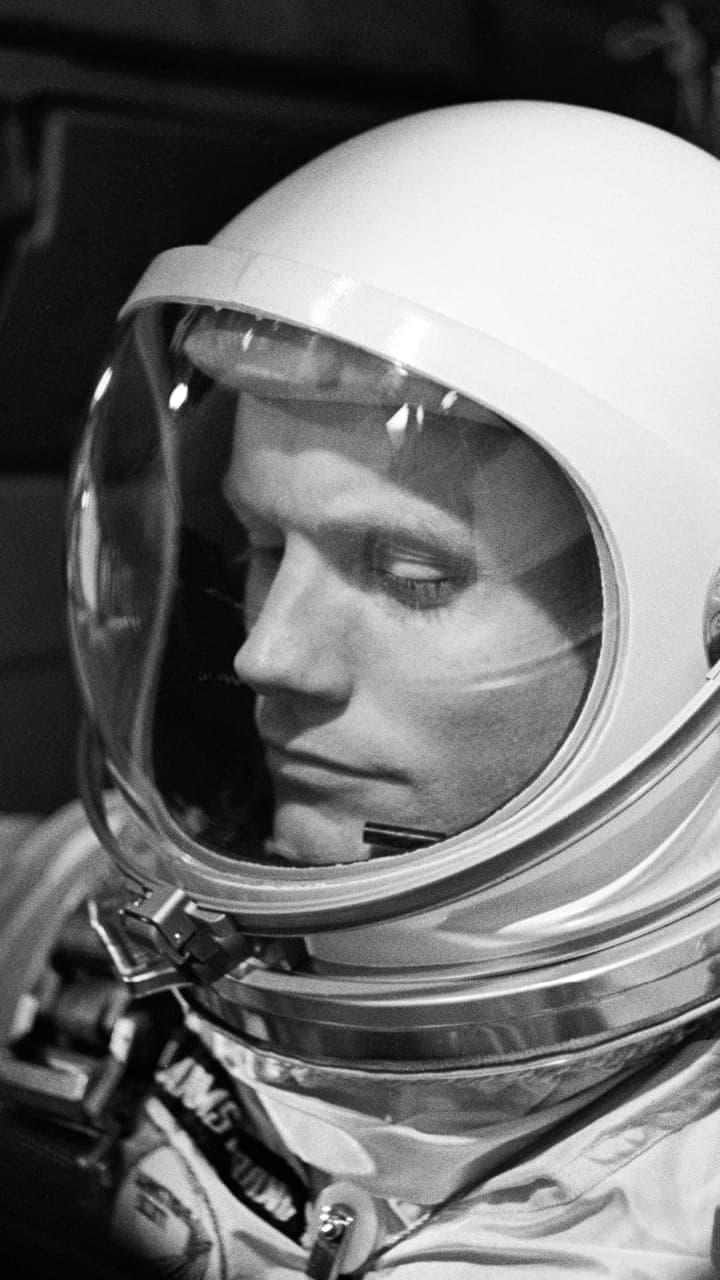 Neil Armstrong in helmet