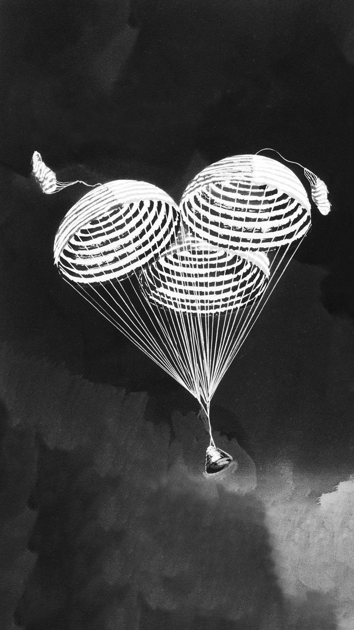 Three striped parachutes.