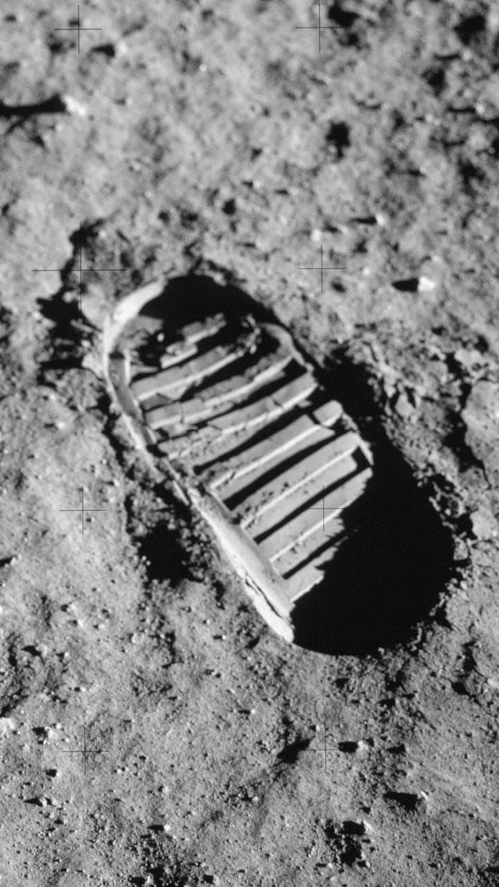 A footprint on the moon.
