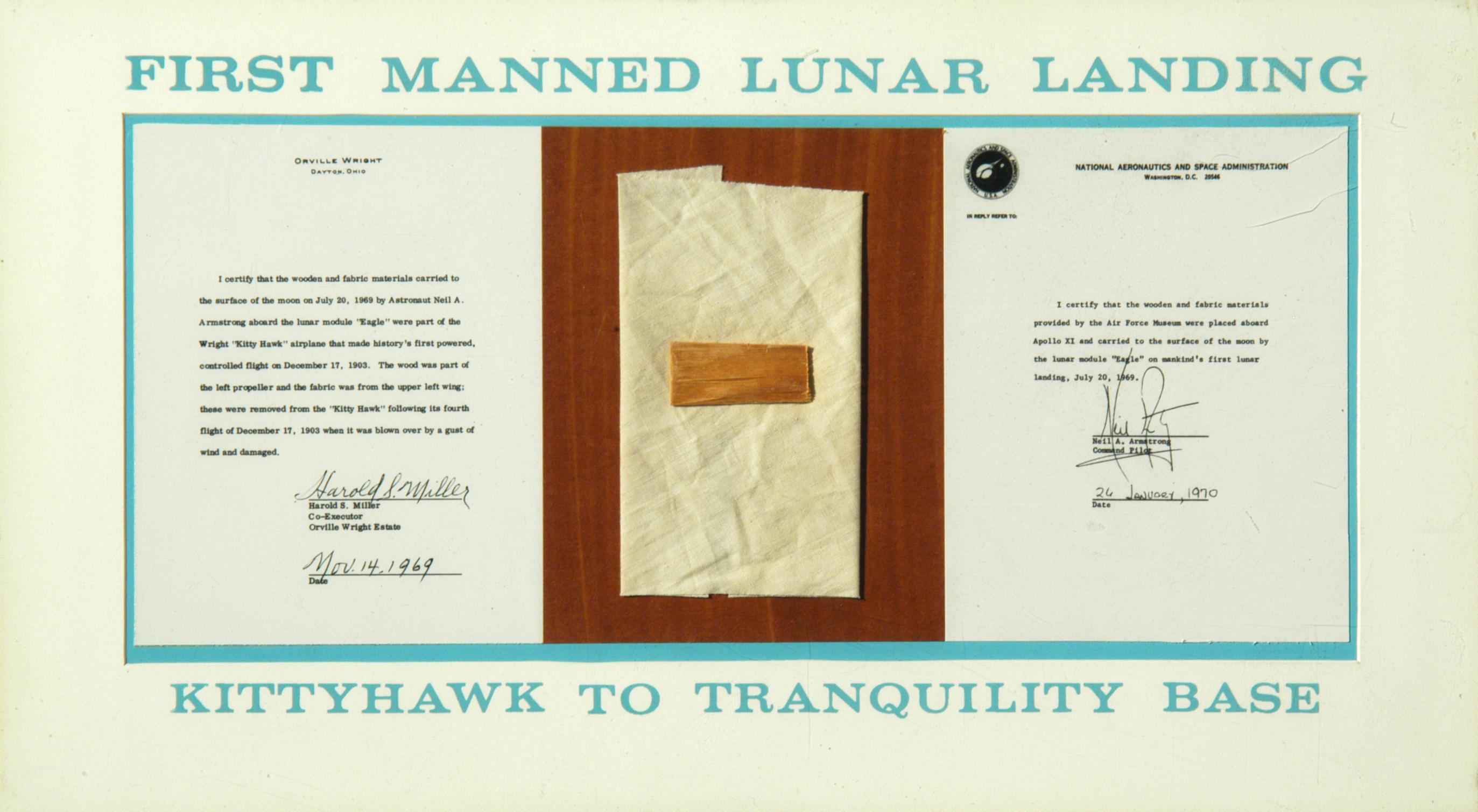 1903 Wright Flyer Fabric Taken to Moon Apollo 11