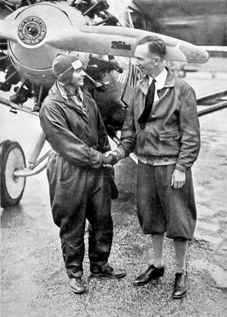 Historic photo of Thea Rasche with pilot Clarence Chamberlin