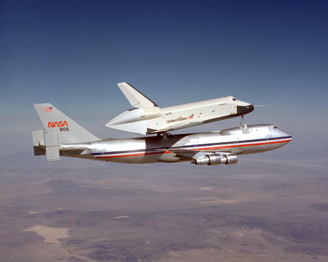 Space Shuttle Enterprise First Captive Flight atop NASA SCA