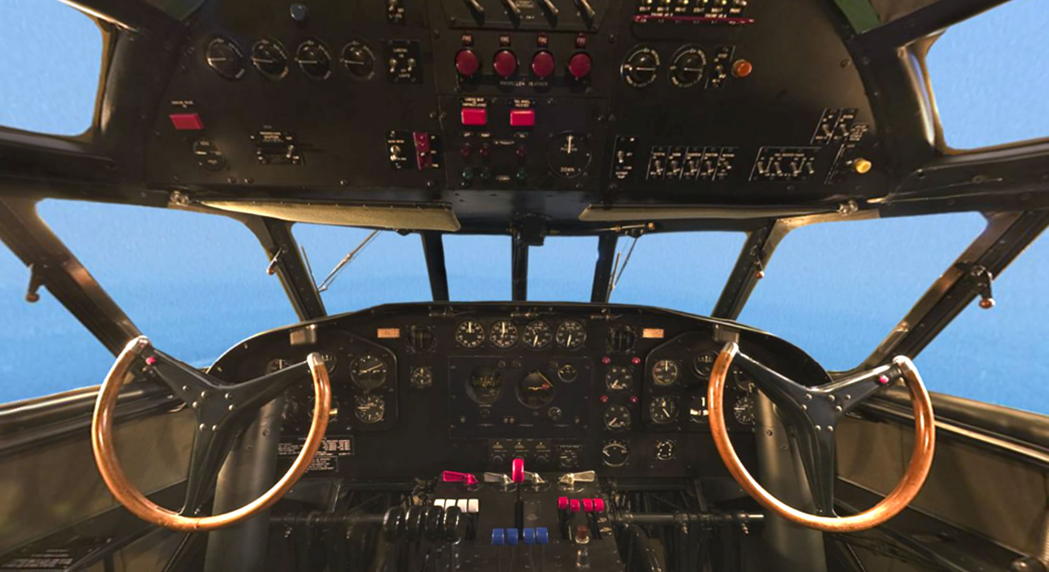 View inside the cockpit of the Boeing 307 Stratoliner