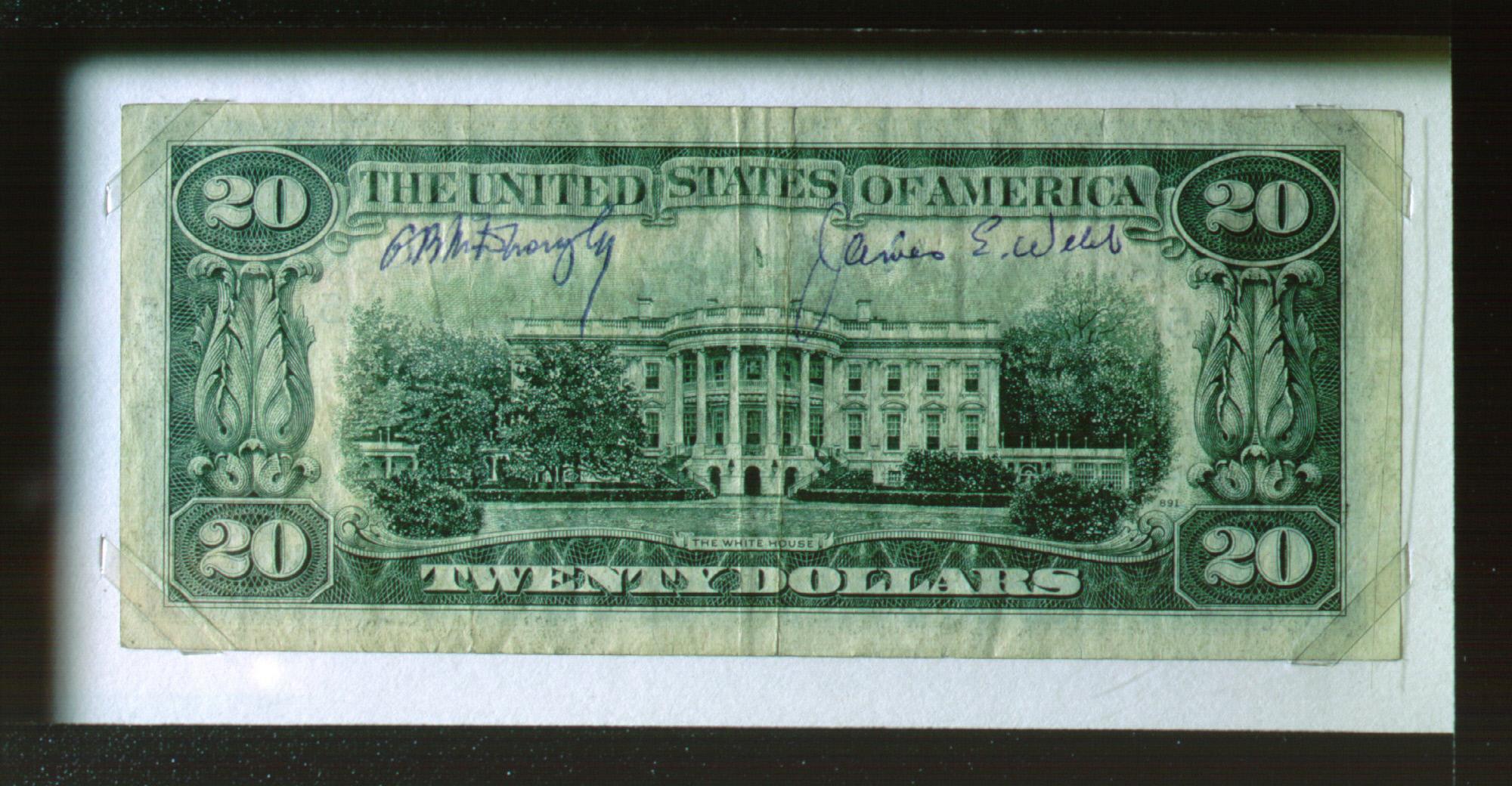 Webb Signed 20-dollar bill