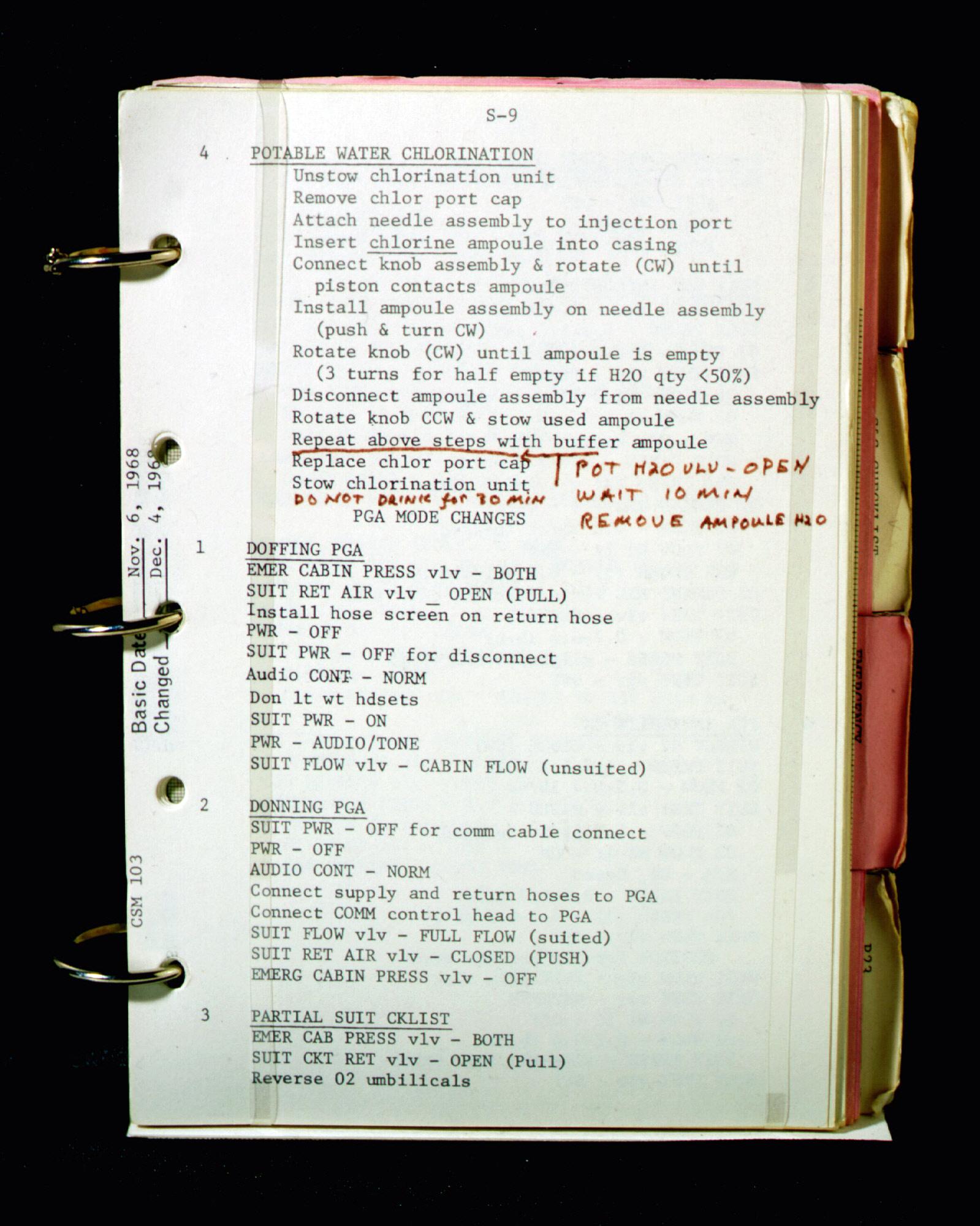 Apollo 8 Checklist