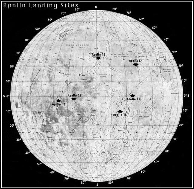 Apollo Landing Spots on Moon