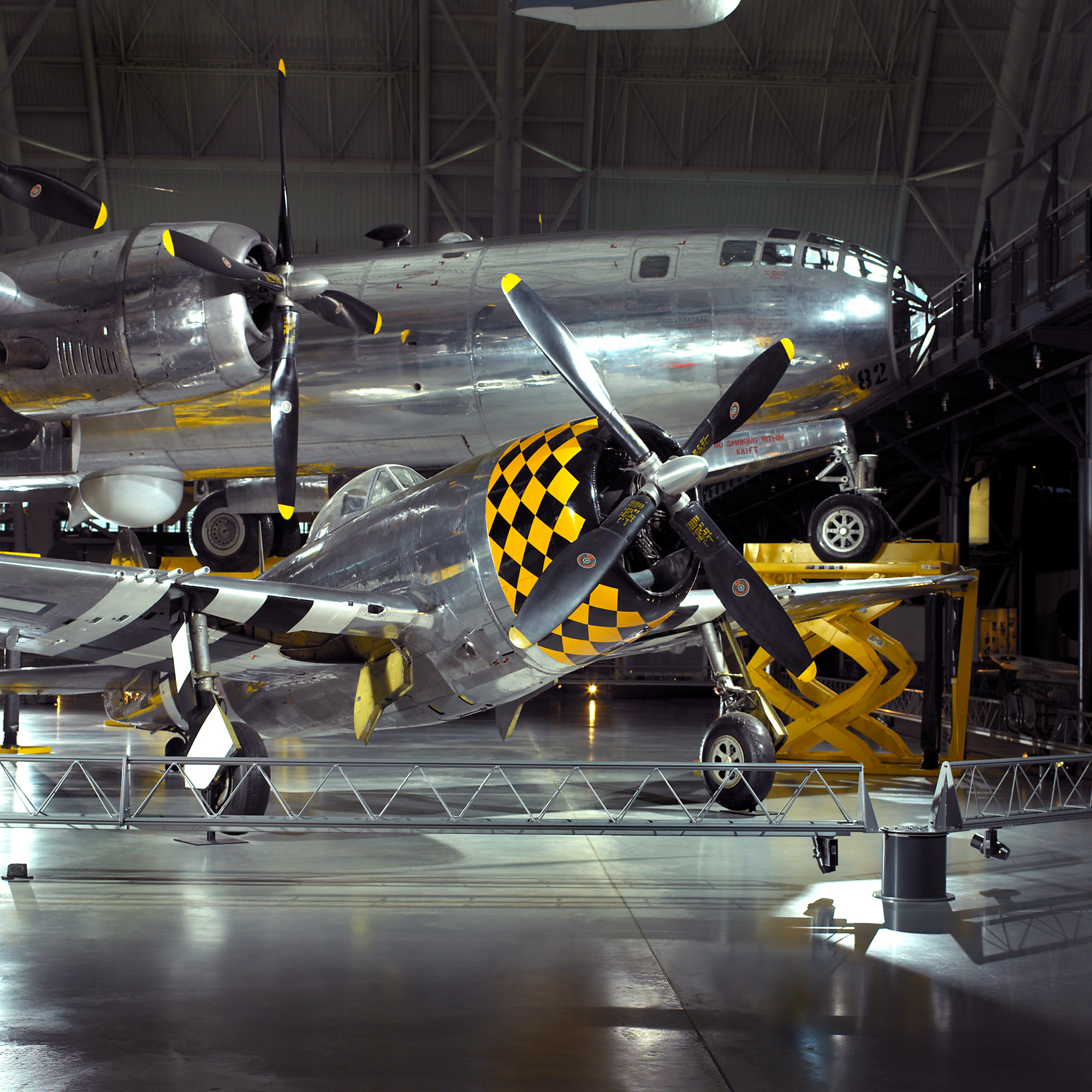 Republic P-47D Thunderbolt and Boeing B-29 Superfortress Enola Gay
