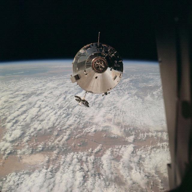 Image of Apollo 9 Command Module in Earth orbit