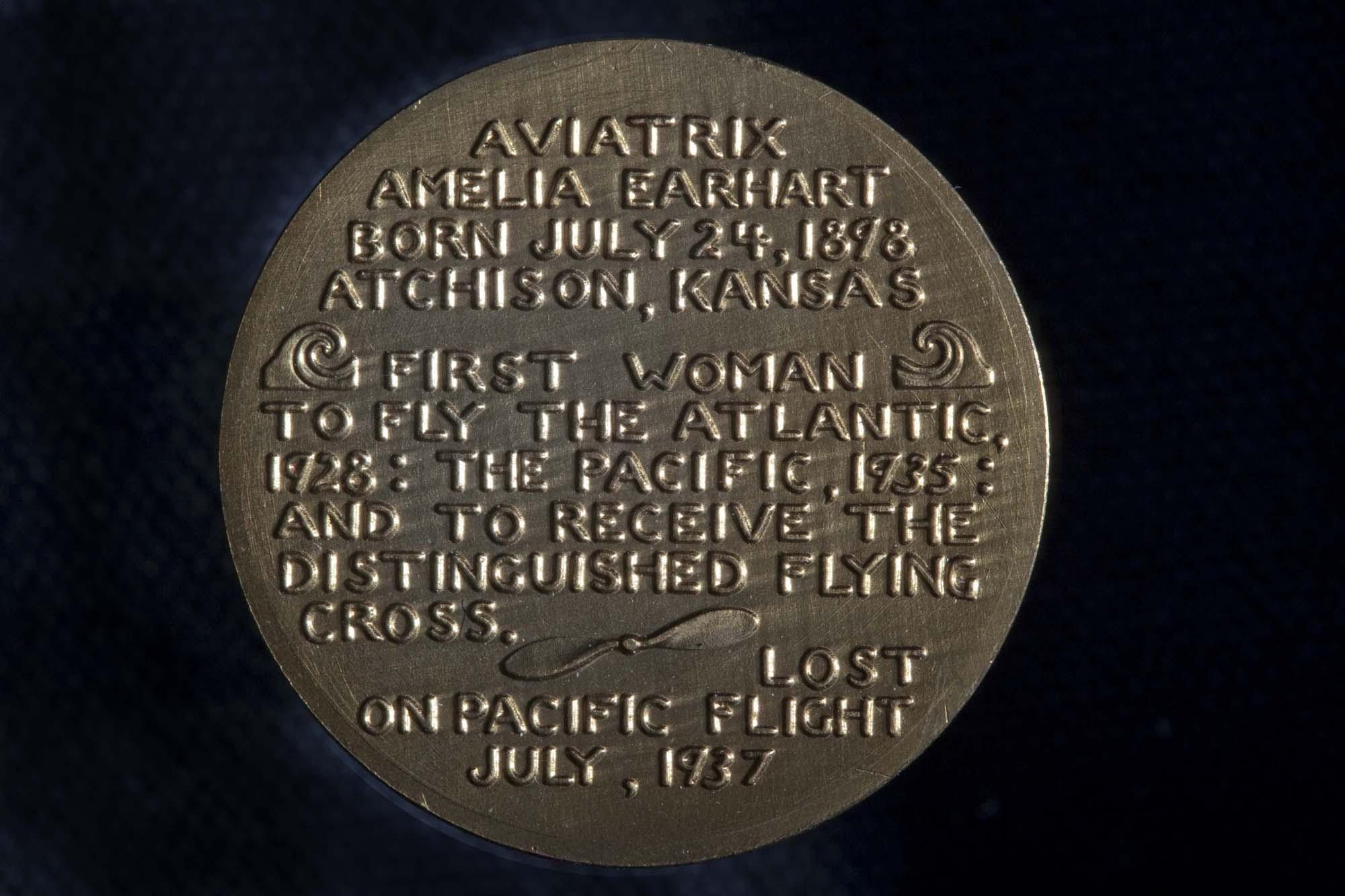 Amelia Earhart Medal (Back)