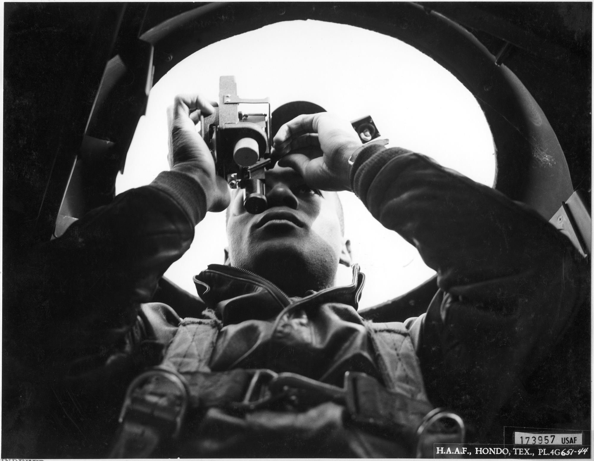 Tuskegee Navigation Cadet with Sextant