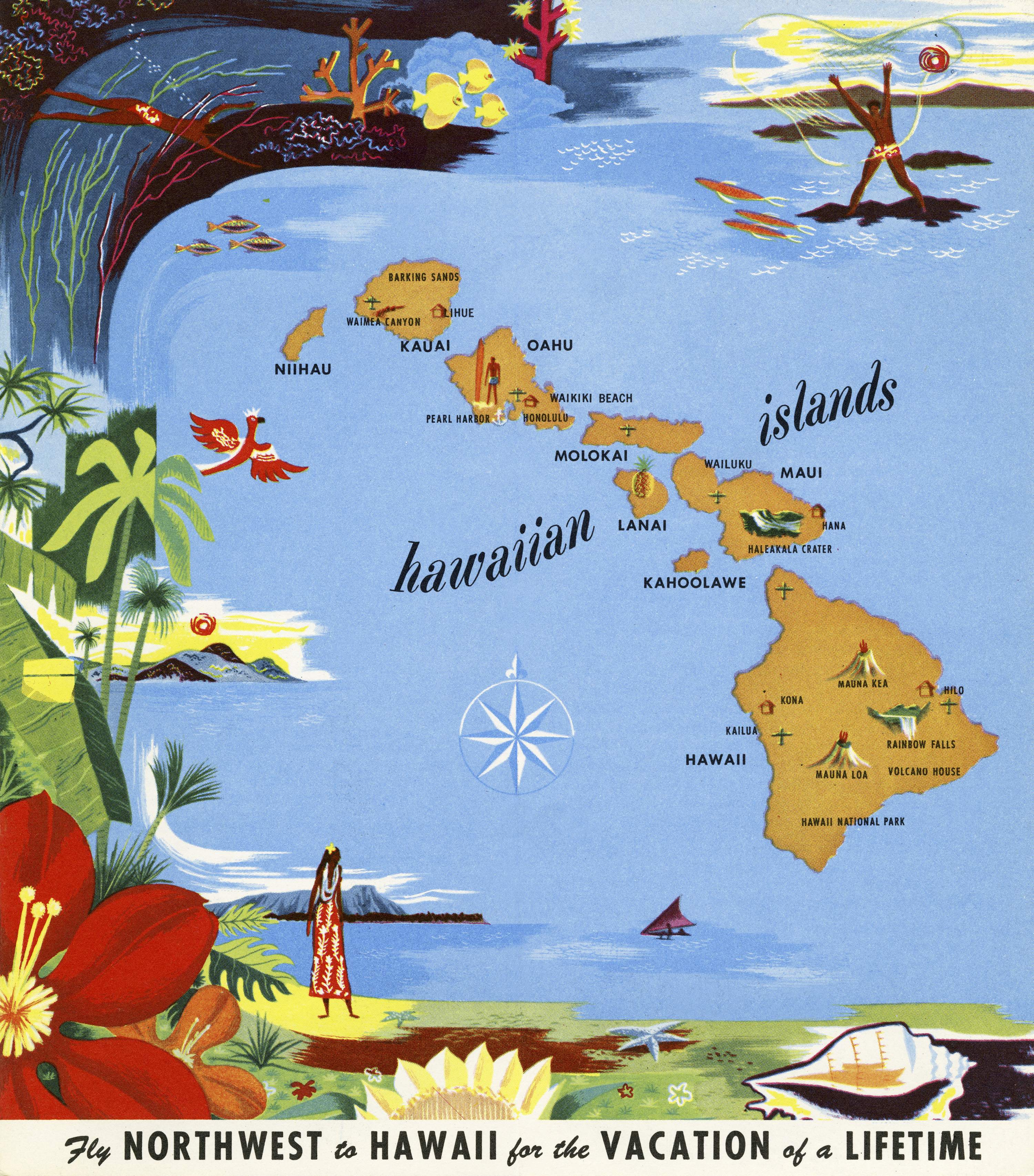 Northwest Airlines Hawaii Brochure, Map on map for program, map for pamphlet, map for invitation,