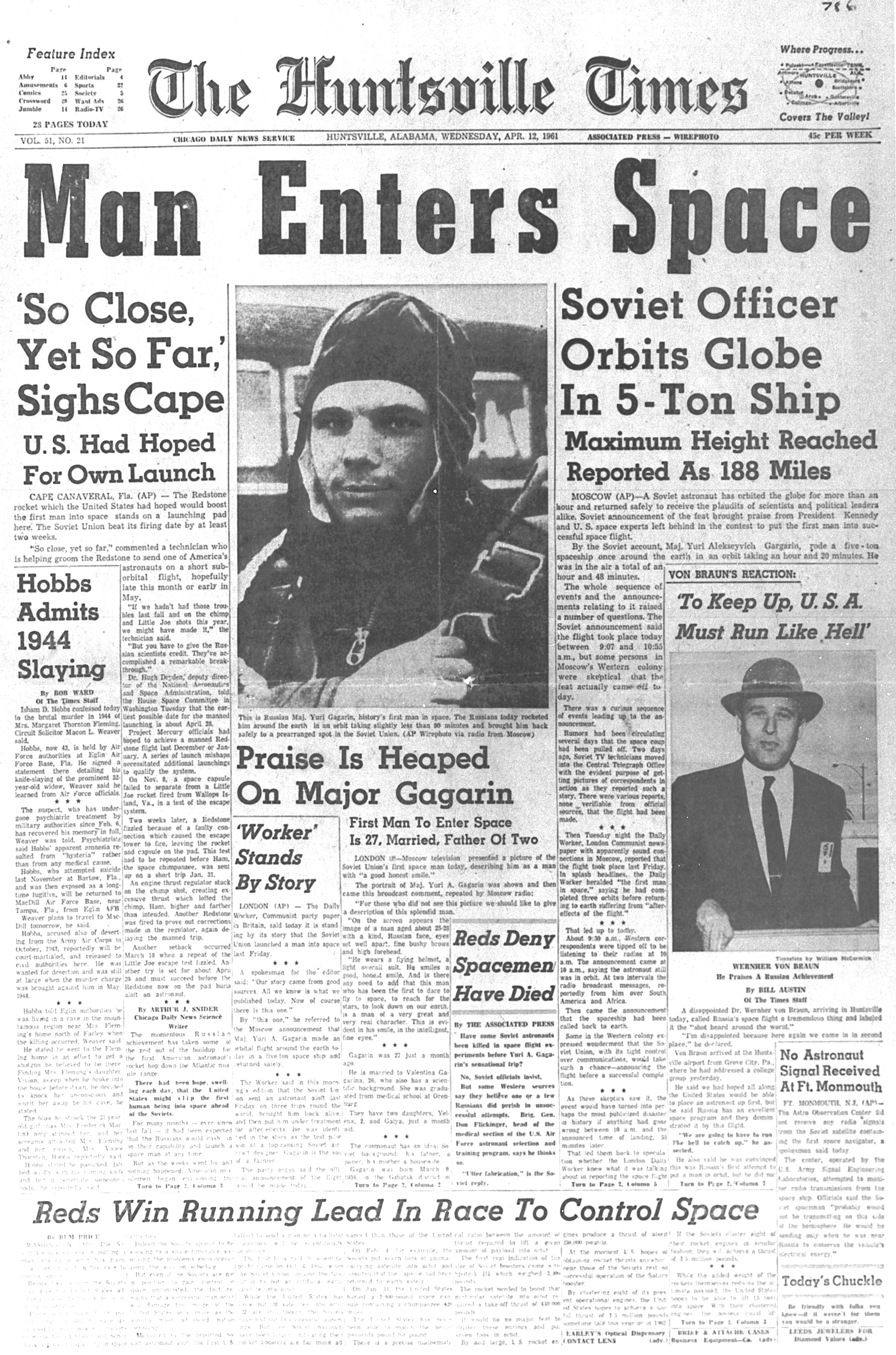 yuri gagarin newspaper -#main