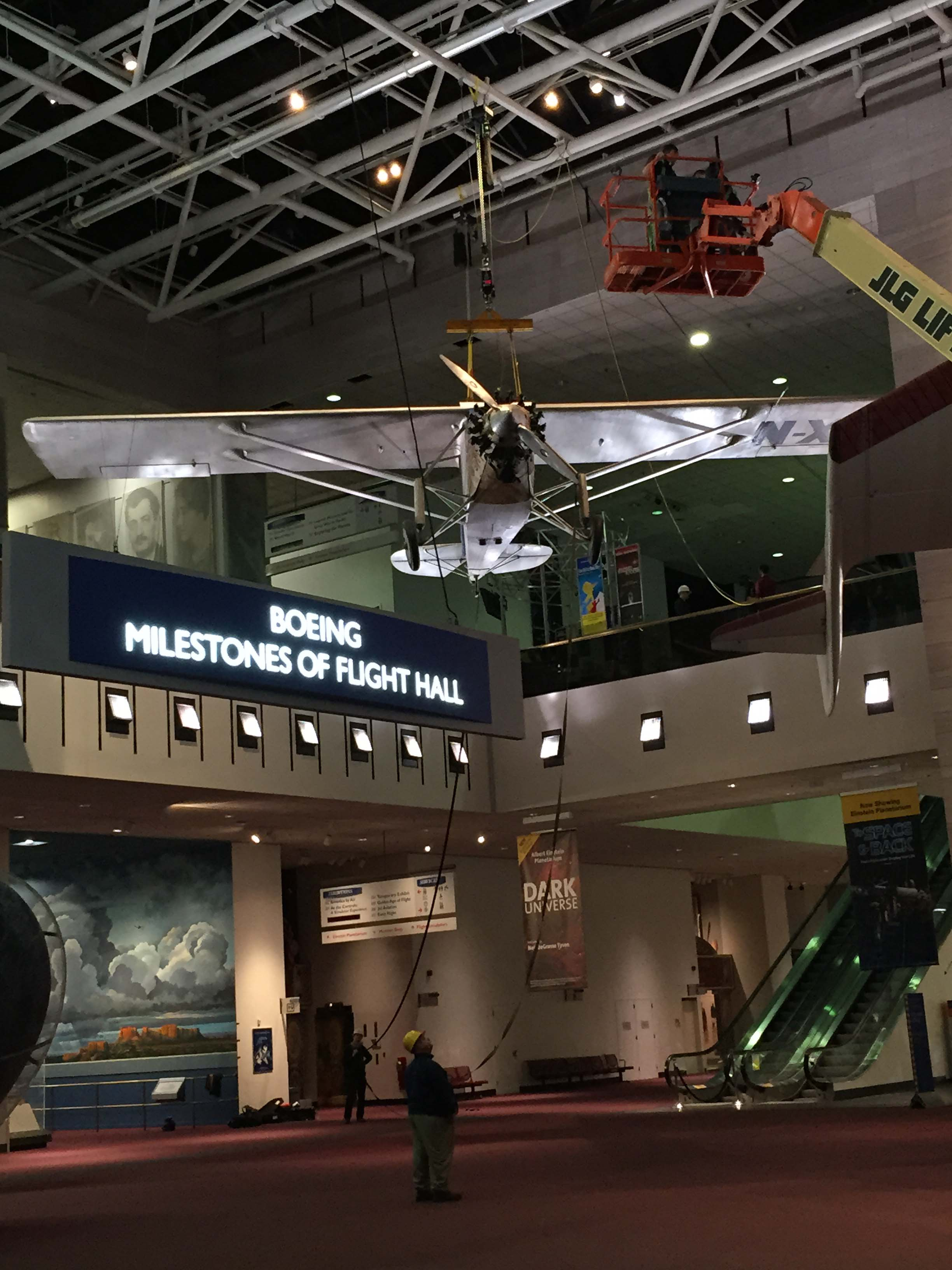 Spirit of St. Louis Lowered in Boeing Milestones of Flight Hall