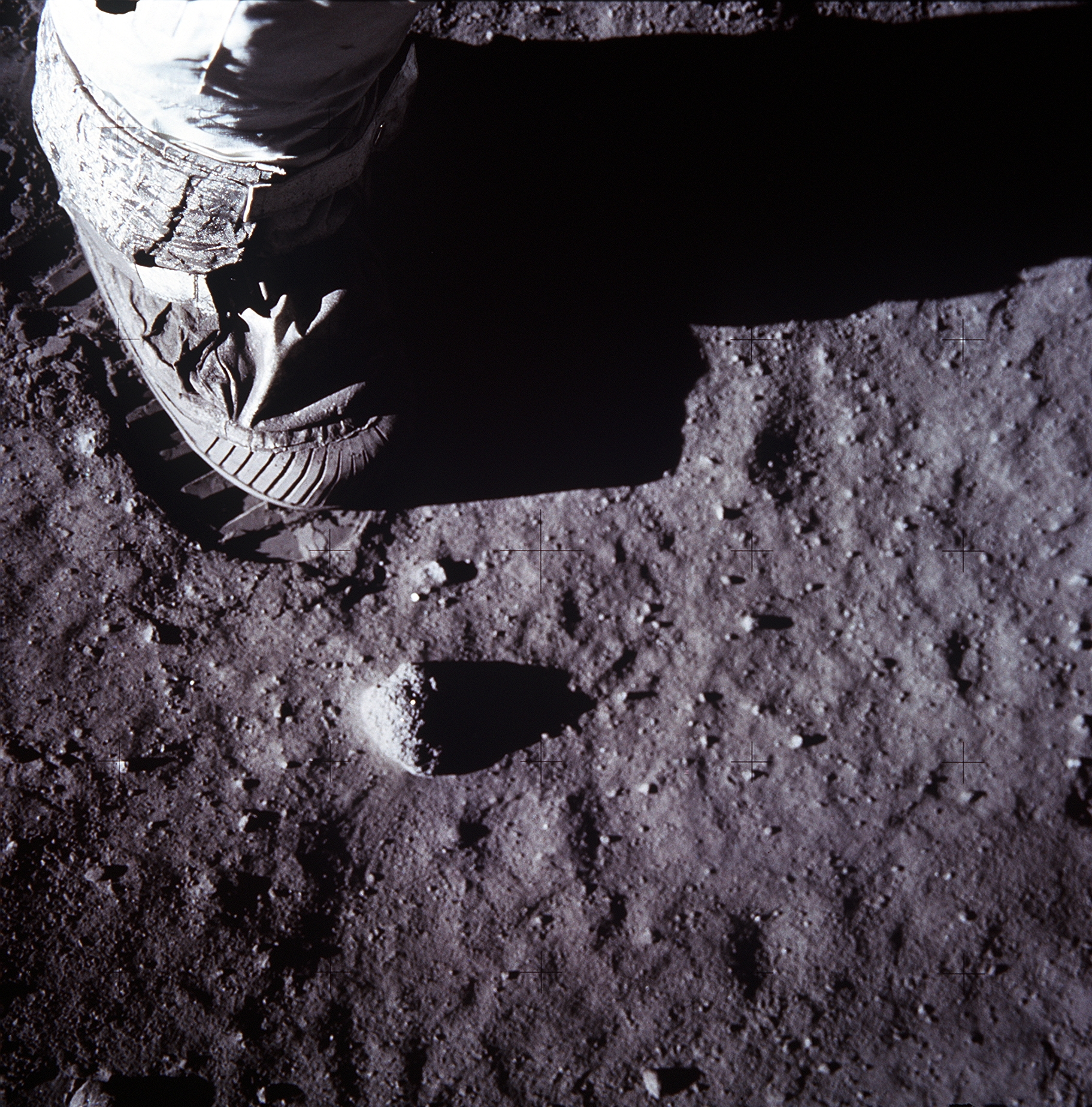 Apollo 11: Close-up of Astronaut's Foot and Footprint in Lunar Soil