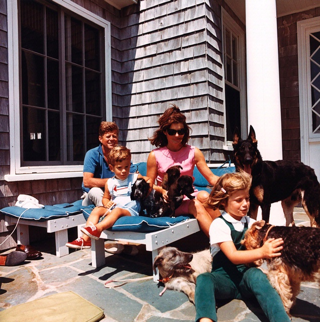 Caroline Kennedy with her family, including two of Pushinka's puppies.