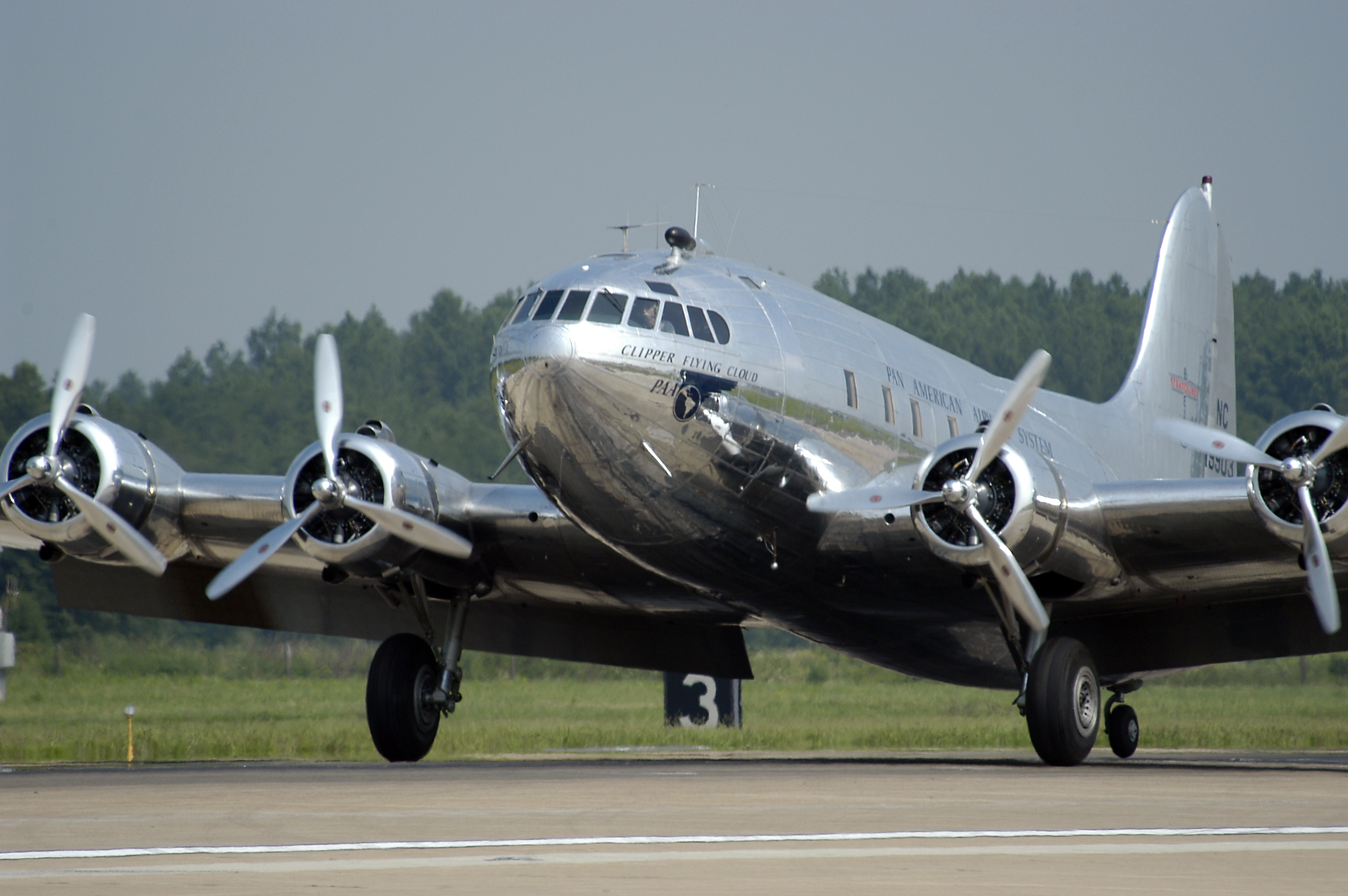 Boeing S-307 Stratoliner Arrives at Washington Dulles Airport