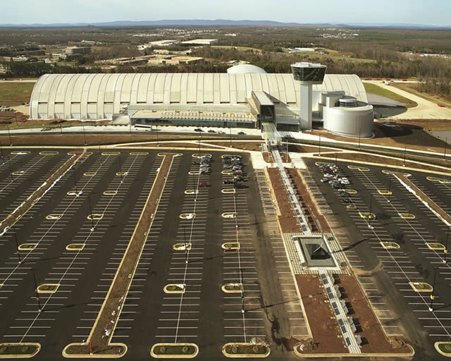 Aerial View of Udvar-Hazy Center Parking Lot