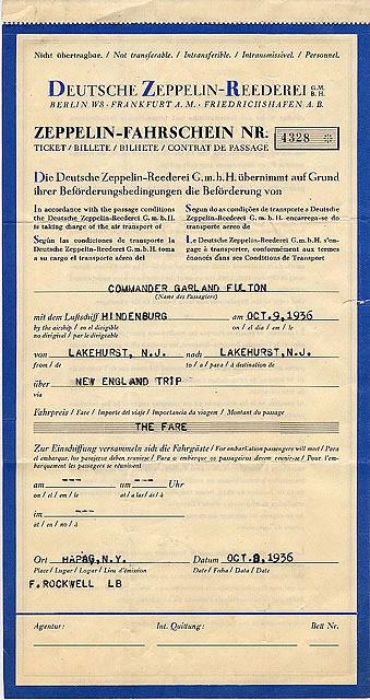 Hindenburg Ticket