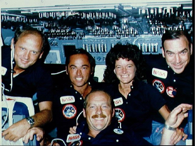 Inflight views of the crew of STS-7