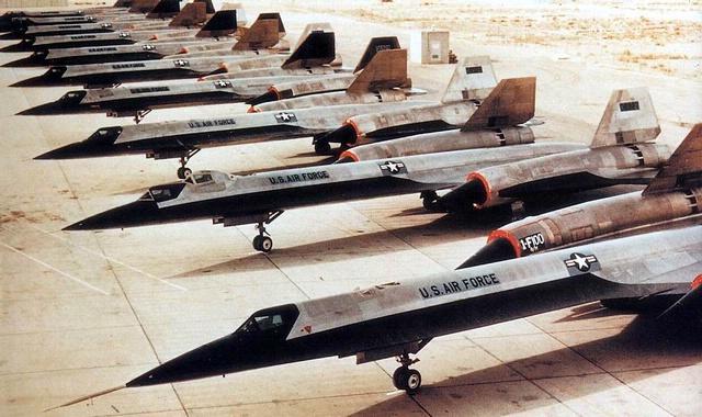 Lockheed A-12 aircraft lined up on tarmac