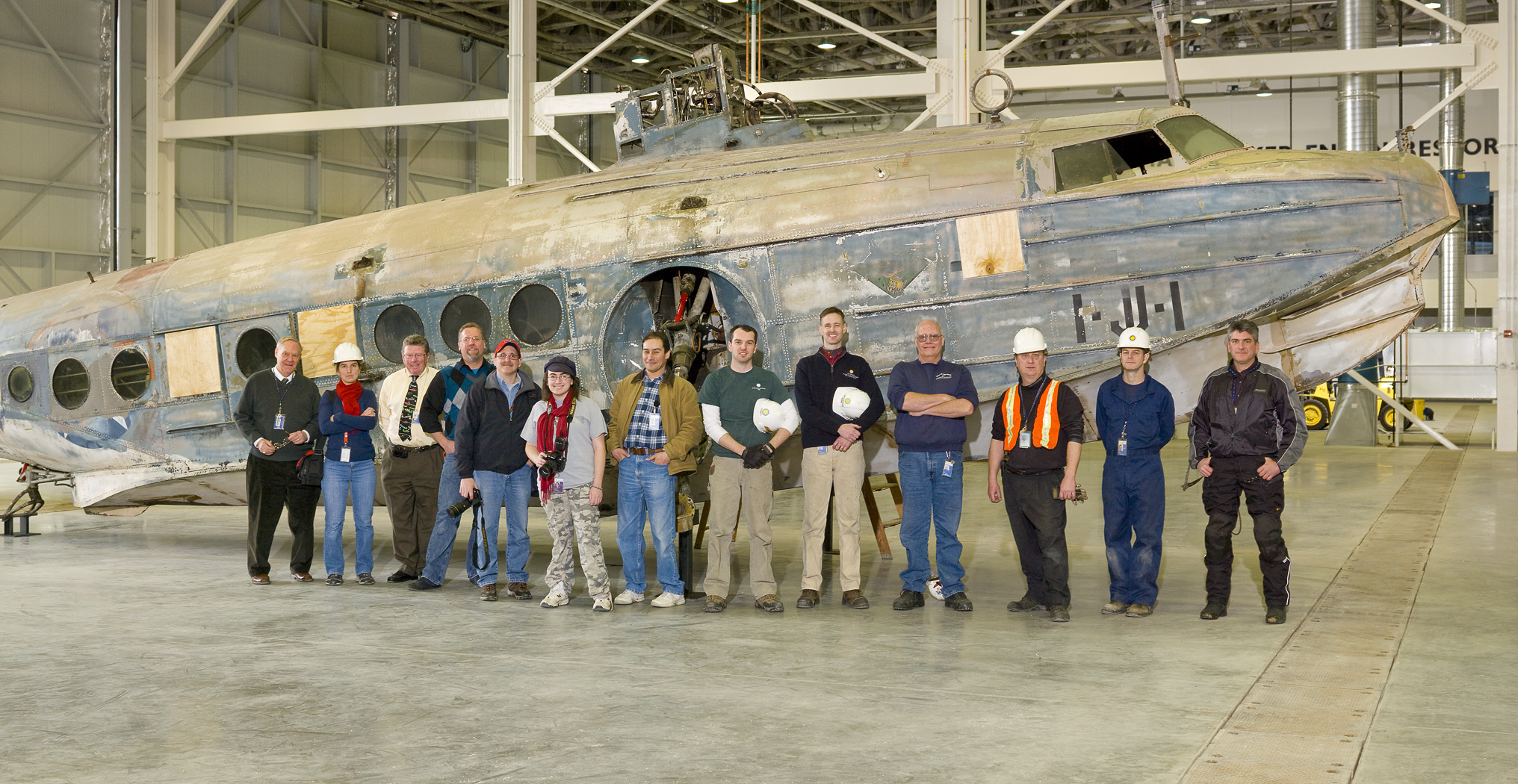 Sikorsky JRS-1 and Move Team in the Mary Baker Engen Restoration Hangar