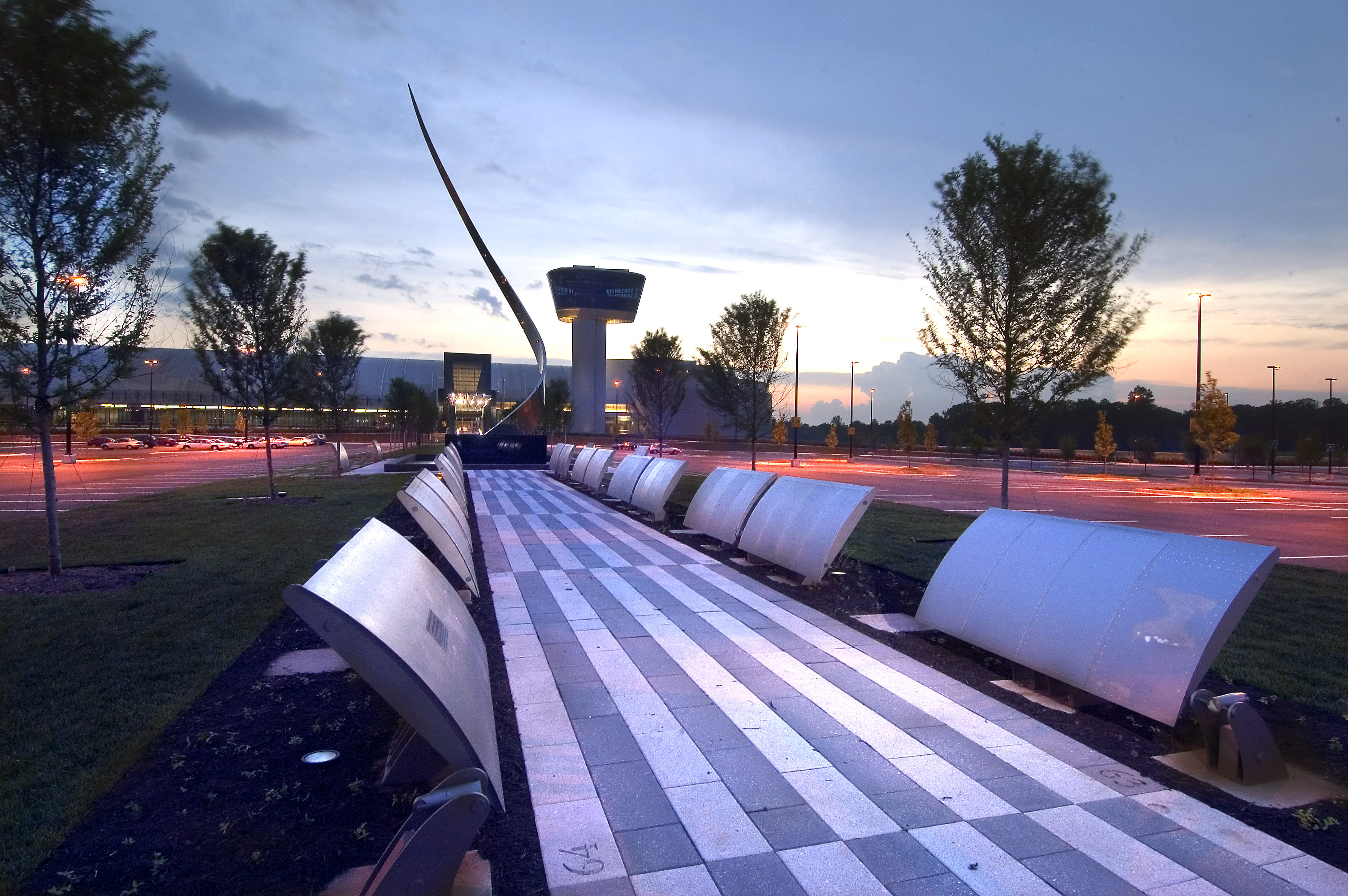 Wall of Honor at Night Outside Udvar-Hazy Center