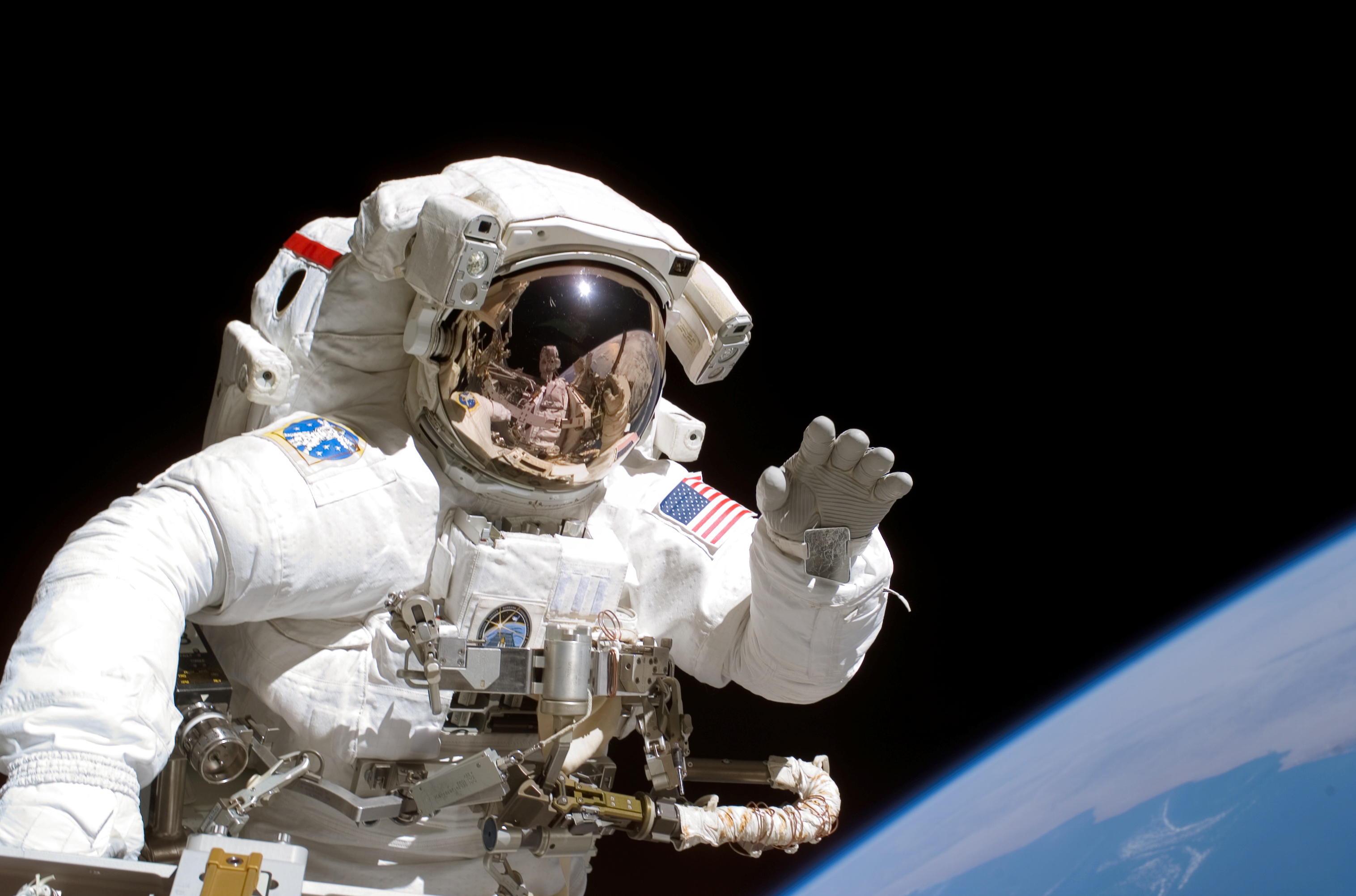 Space Shuttle Astronaut on Spacewalk (STS-115)