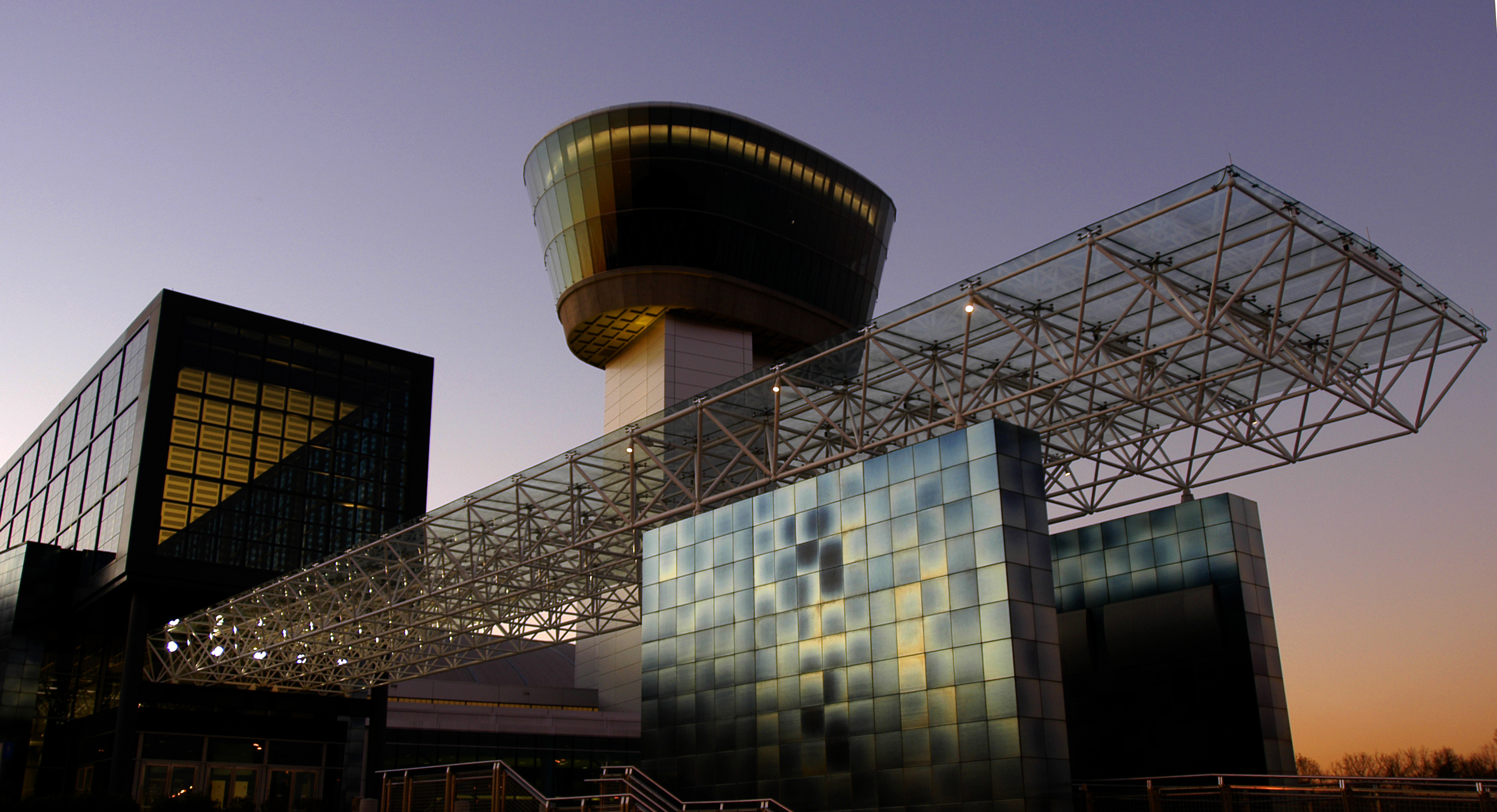 View of the Steven F. Udvar-Hazy Center tower at sunset