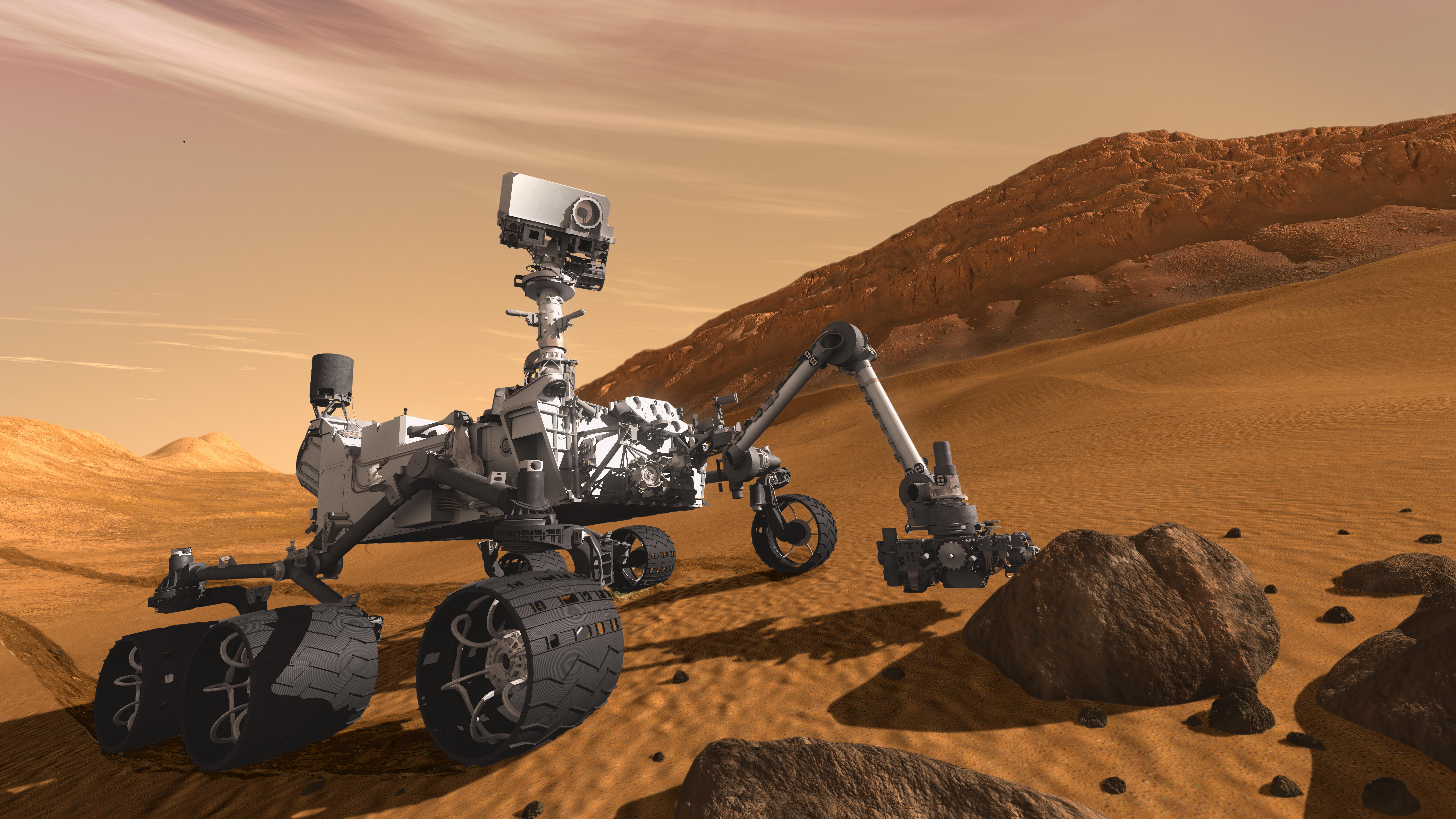 Artist concept of rover Curiosity on Mars.