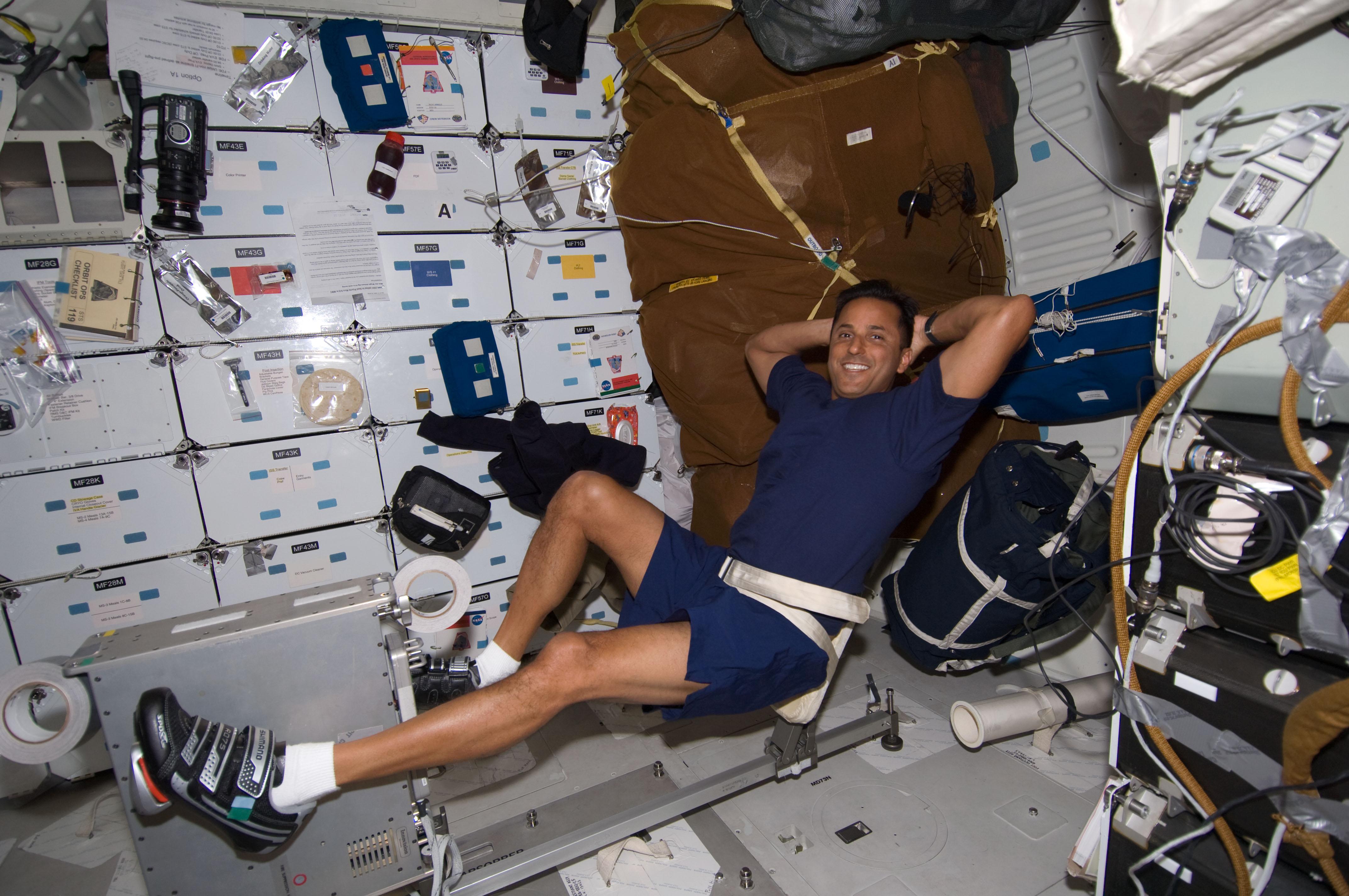Astronaut exercising in space
