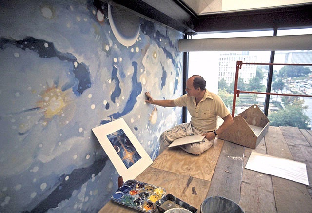 Robert McCall in front of A Cosmic View
