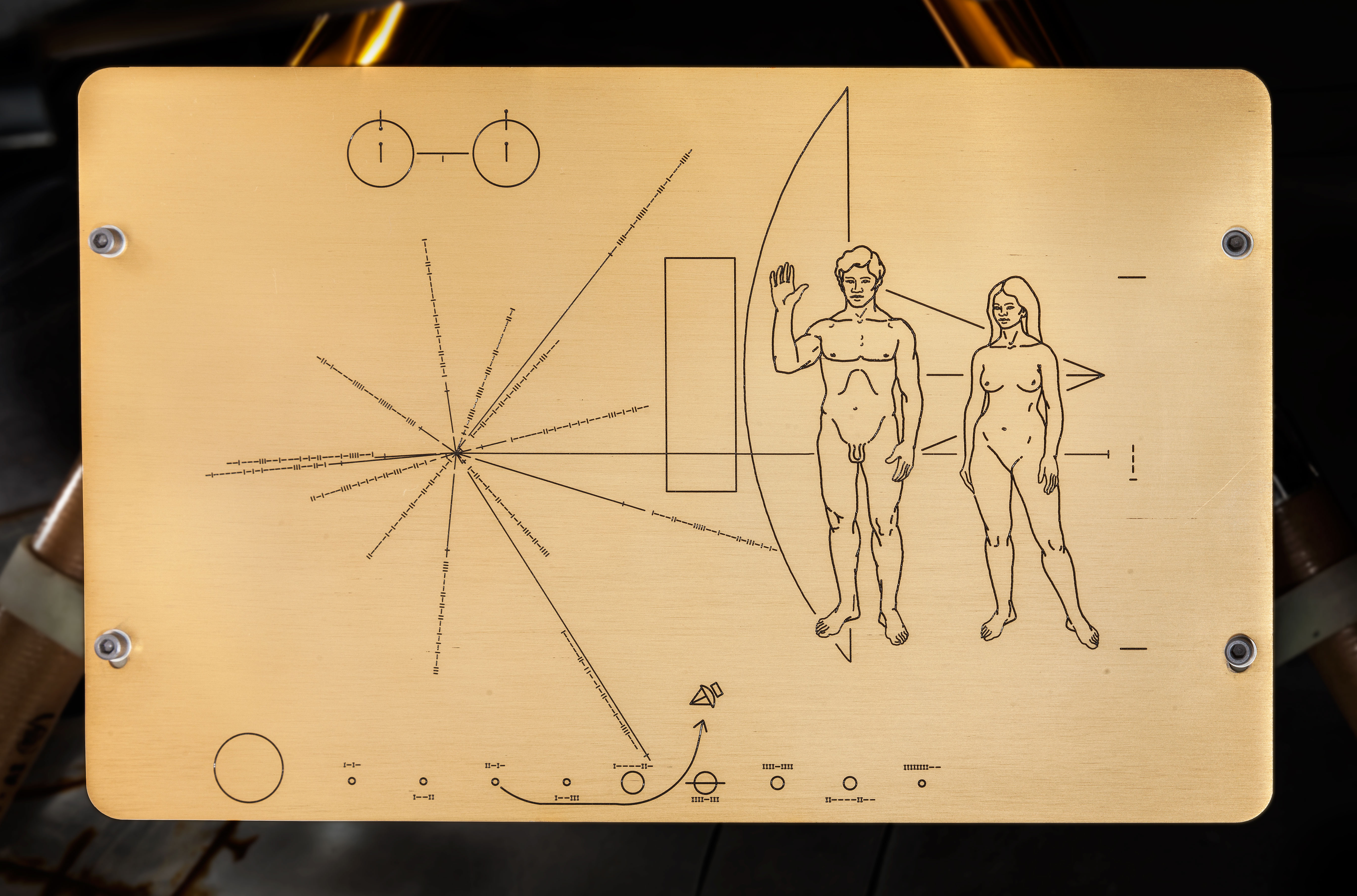 Close up of the Pioneer plaque.