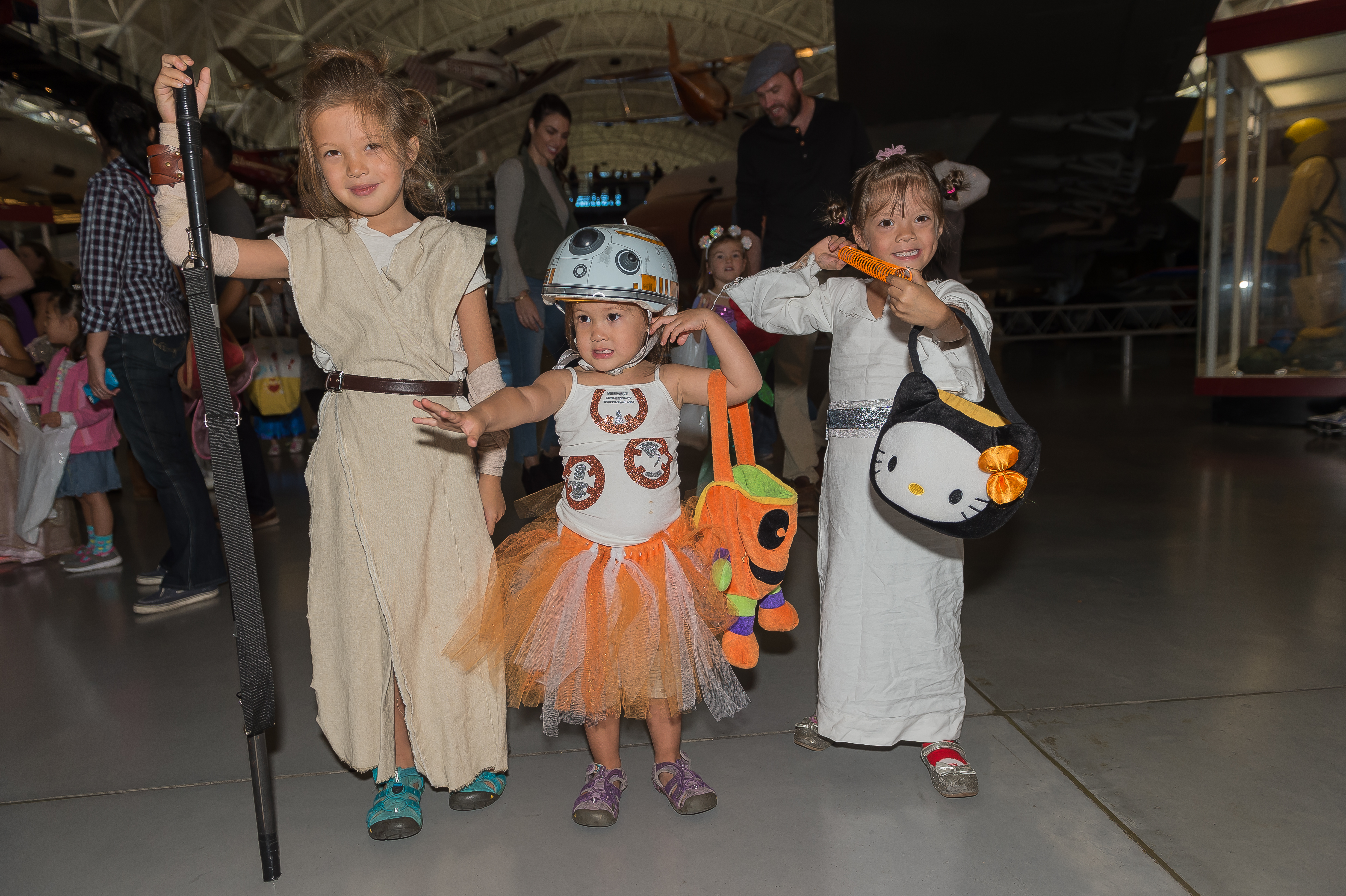 Visitors dressed in Star Wars costumes