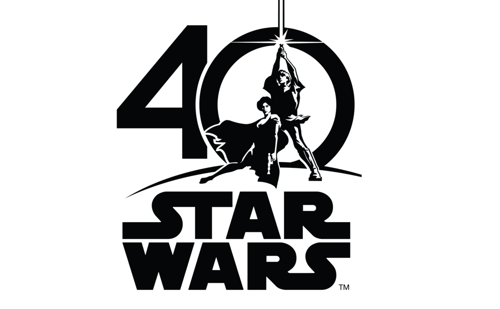 """40"" with Luke and Leia and the words ""Star Wars"" underneath"