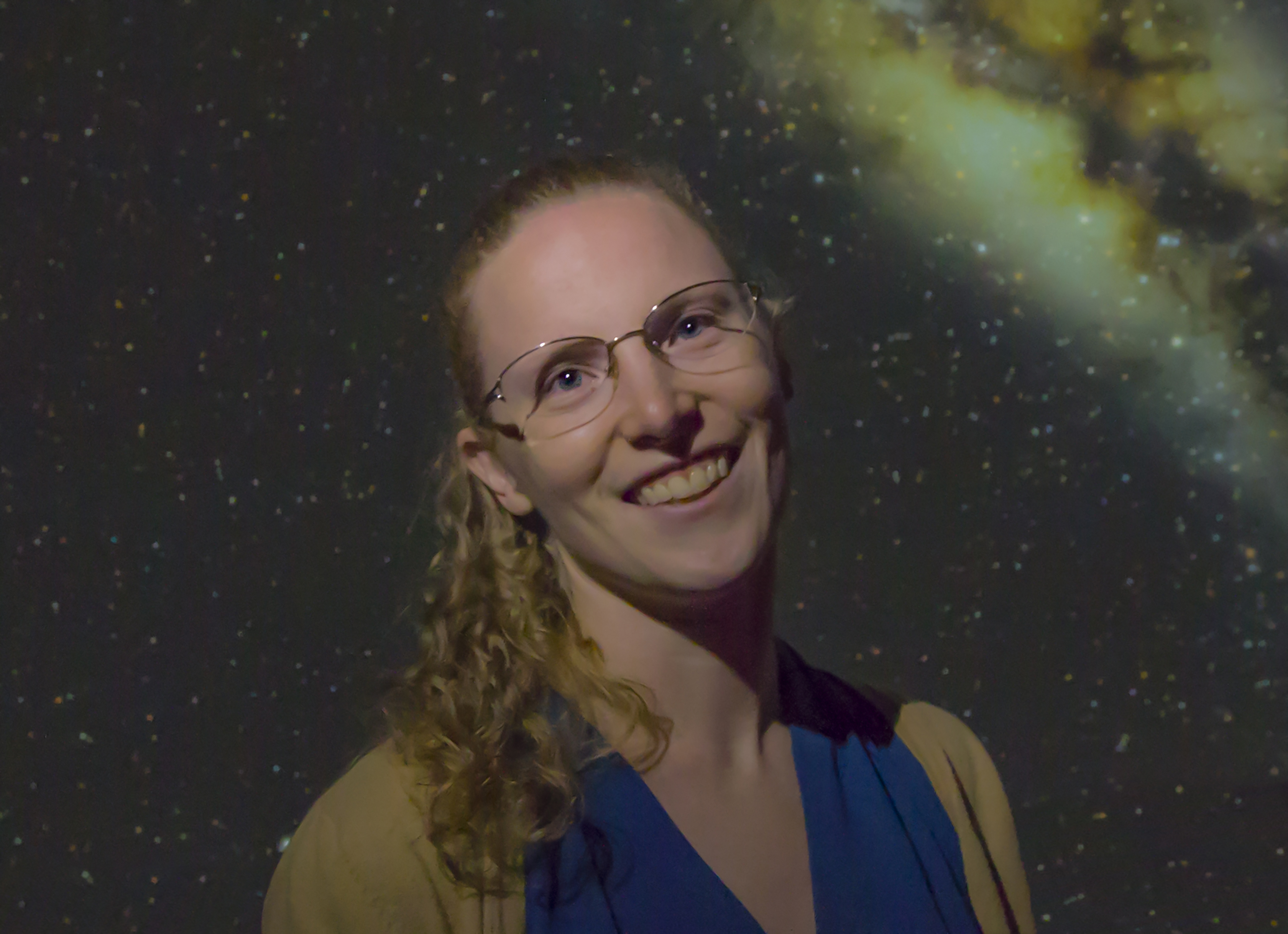 portrait of Shauna Edson with galaxy backdrop