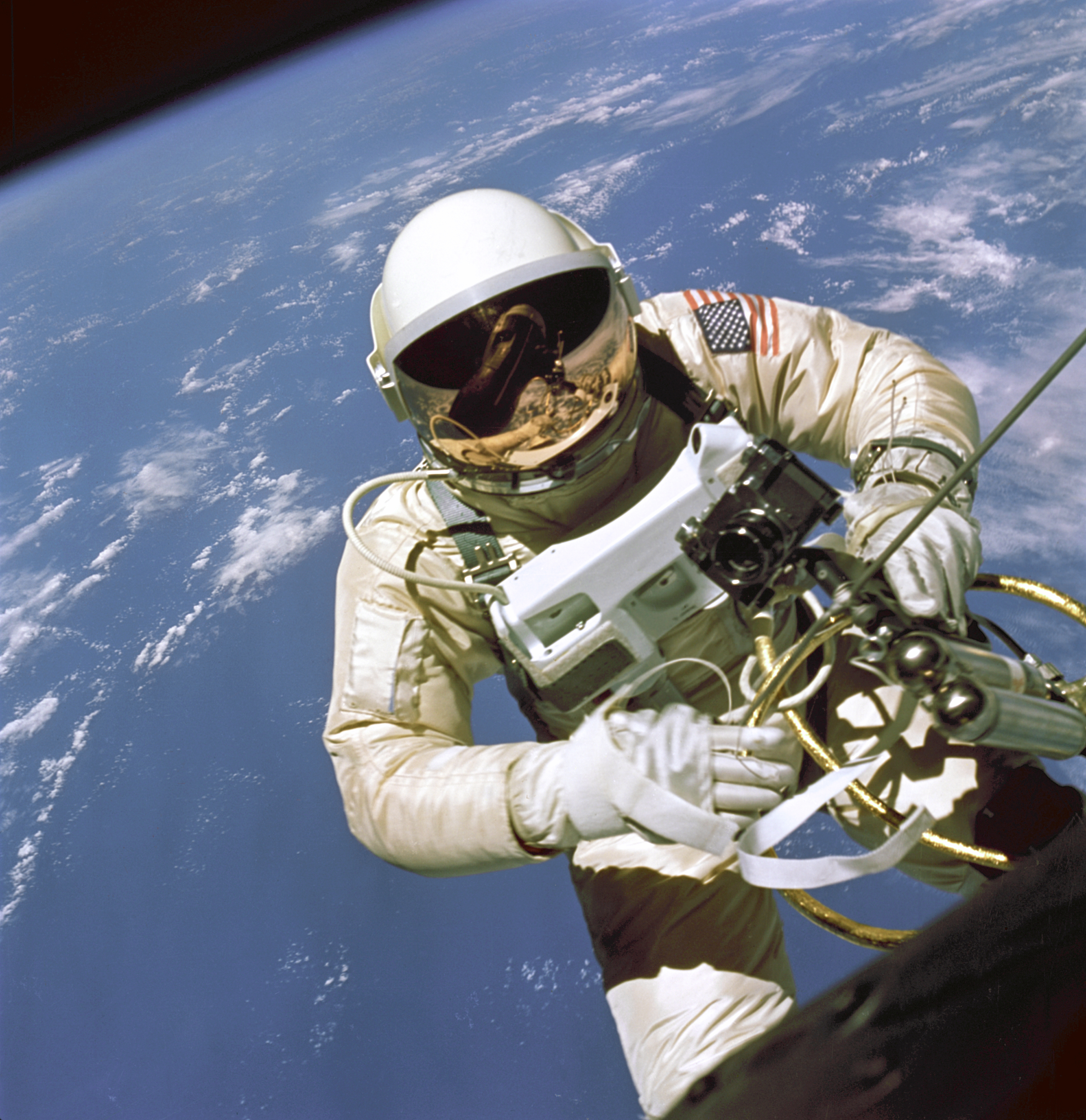 Astronaut Ed White during the First American Spacewalk