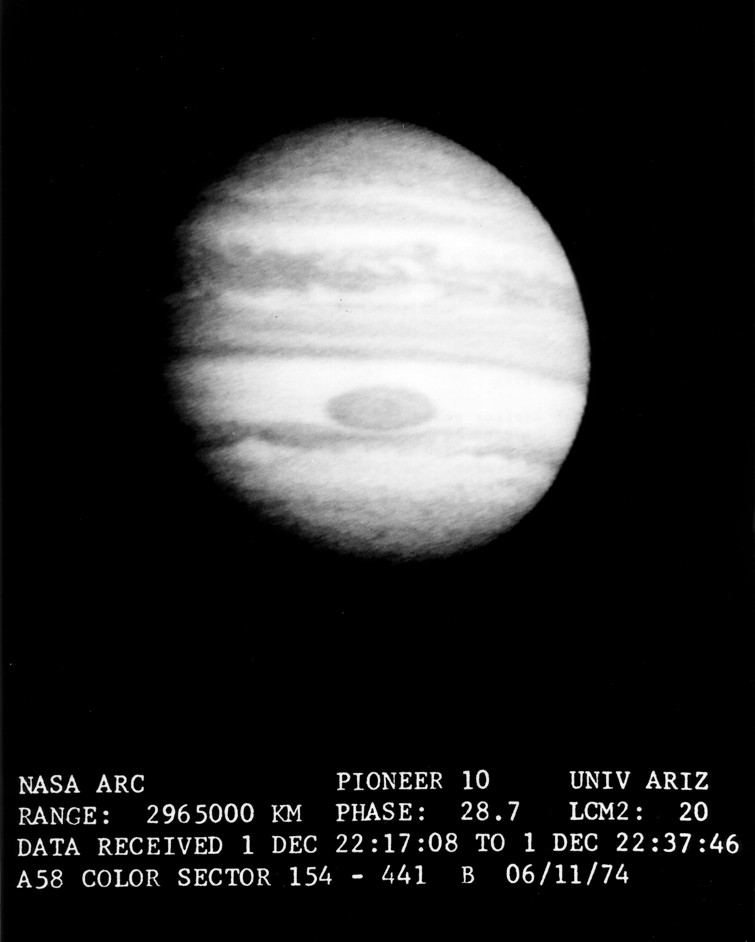 Data from Jupiter Gathered by the Pioneer 10 Spaceflight during the Mission