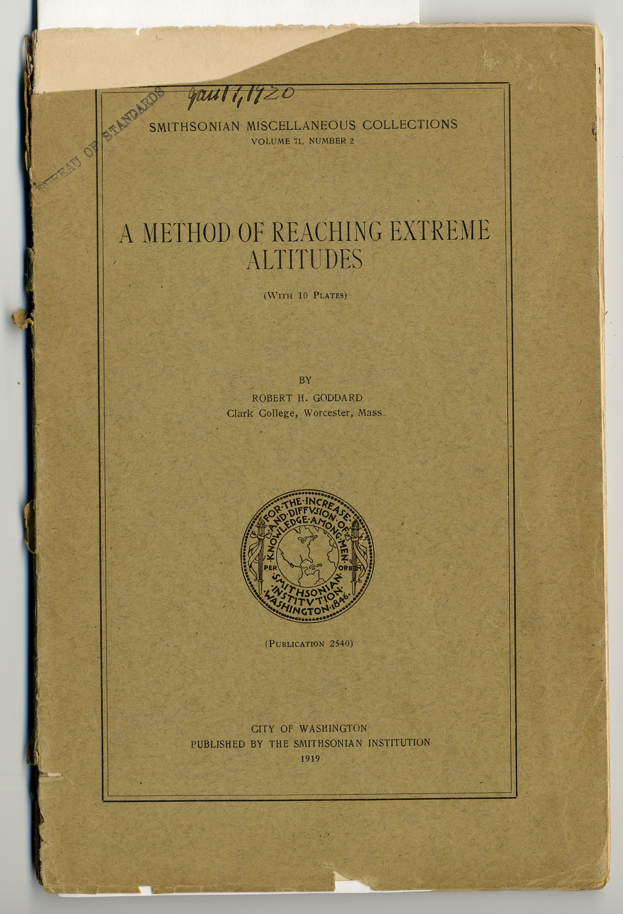 Cover of A Method of Reaching Extreme Altitudes