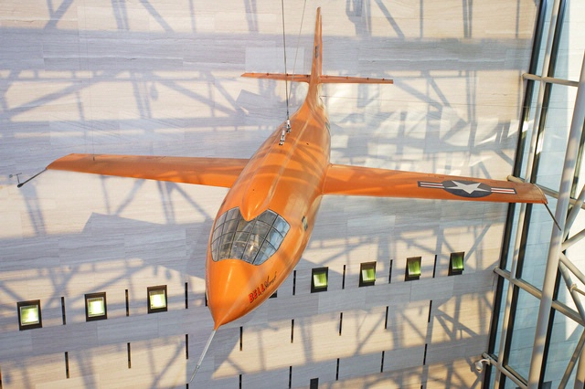 Bell X-1 Glamorous Glennis Hanging in the Boeing Milestones of Flight Hall