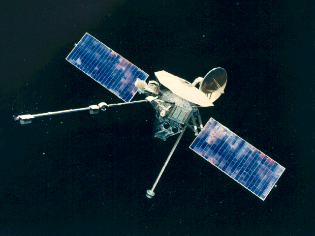 Image of spacecraft against space.