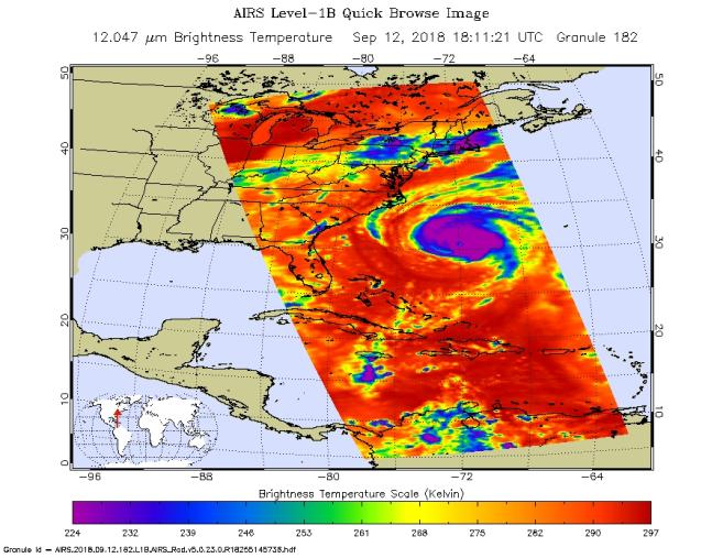 Hurricane Florence as seen by NASA's AIRS Instrument on September 12, 2018.