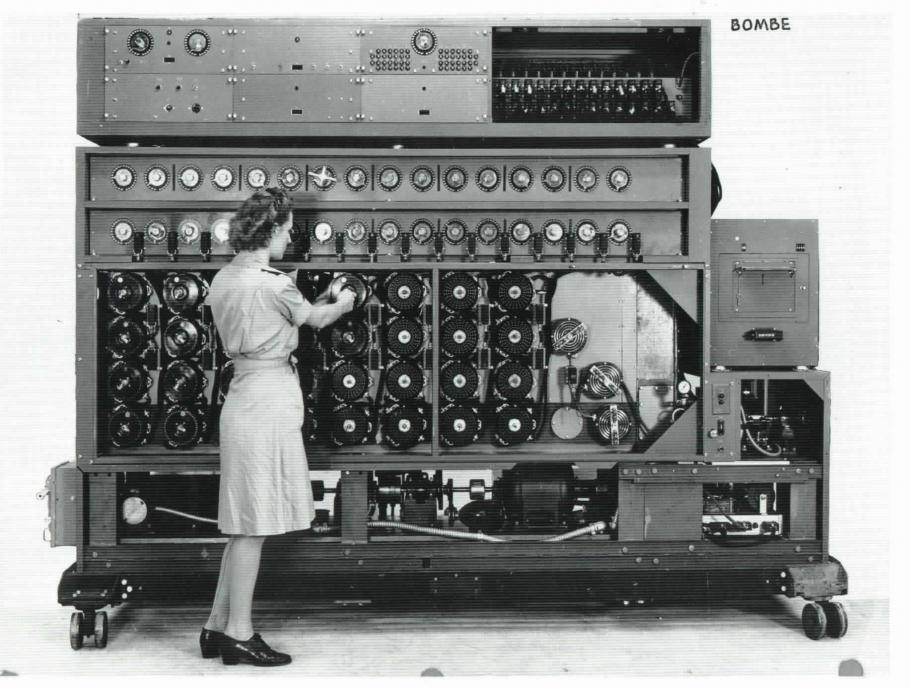 A Navy WAVE working on a US Navy Cryptanalytic Bombe