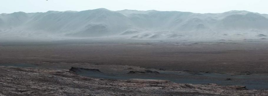Interior and rim of Gale crater on Mars