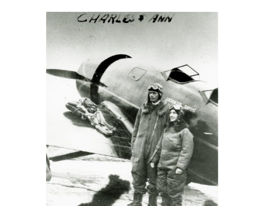 The Lindberghs with their Lockheed Sirius