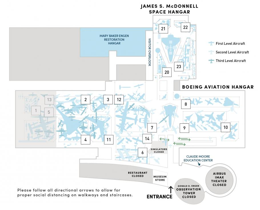A map of the Steven F. Udvar-Hazy Center featuring exhibitions and closures.