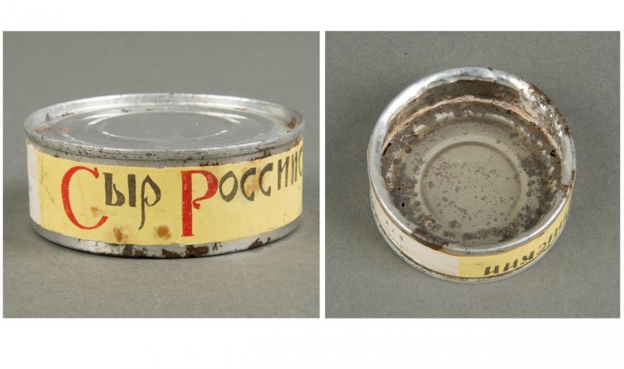 Treatment of Soviet cheese with label reattached