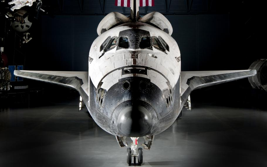 Image of Space Shuttle Discovery's nose.